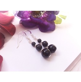 Black Night Long Black Onyx Earrings 925 Silver Dangle Earrings Onyx Beads