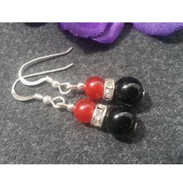 Black Onyx & Red Jade Earrings 925 Silver Dangle Earrings Gemstone Jewelry
