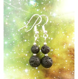 Lava Rock Earrings 925 Silver Dangle Earrings Volcanic Rock Beads