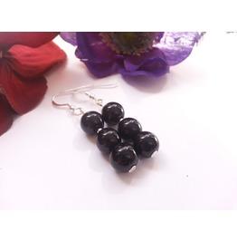 Night Drops Large Black Onyx Earrings 925 Silver Long Dangle Earrings Beads