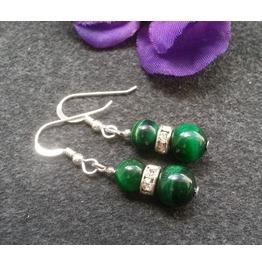 Jungle Magic 925 Silver Green Tiger'e Eye Earrings Gemstone Dangle Earrings