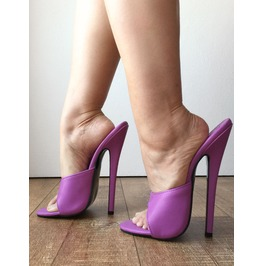 "18cm 7"" Sexy Mistress High Heel Stiletto Fetish Slipper Slides Mule Purple"