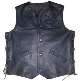 Classic Motorcycle Leather Vest For Men, Black