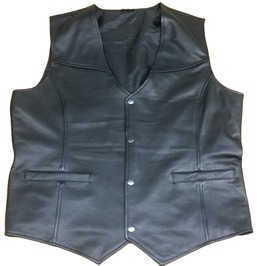 Erin Motorcycle Leather Vest For Men, Black