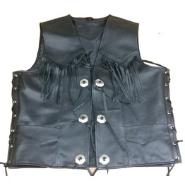Renn Motorcycle Leather Vest For Men, Black