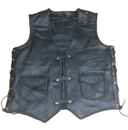 Jack Motorcycle Leather Vest For Men, Black