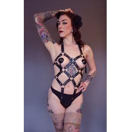 Raven Pu & Metal Bdsm Body Harness