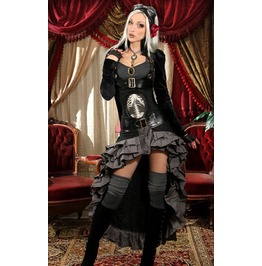 Ladies Black Openbust Steampunk Buttoned Gothic Crop Tail Coat $6 Shipping