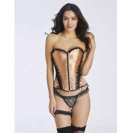 Front Zipper Lace Trimming Overbust Corset