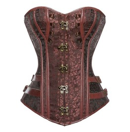 Leather Trimming Metal Snap Buttons Overbust Corset