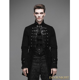 Black Double Breasted Gothic Palace Style Coat For Men