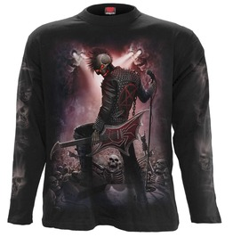 Men,S Black Long Sleeve Skeleton Skulls Metal Undead Graphic Tee