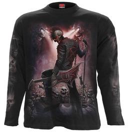 Men,S Black Long Sleeve Skeleton Skulls Metal Undead Graphic Tee