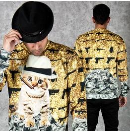 Eye Catching Million Dollar Cat Printed Sweatshirts 595