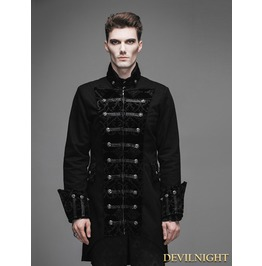 Vintage Black Double Breasted Gothic Palace Coat For Men
