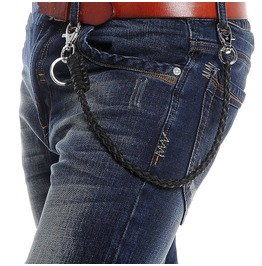 Men's Kintted Single Faux Leather Pants Chain Waist Chain