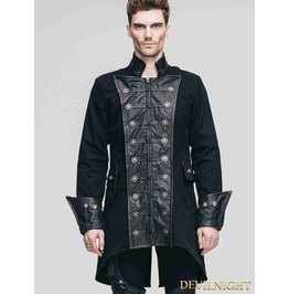 Vintage Black Double Breasted Gothic Coat For Men