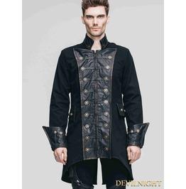 Vintage Black Double Breasted Gothic Coat For Men