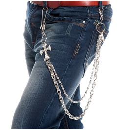 Men's Double Deck Cross Waist Chain Jeans Chain