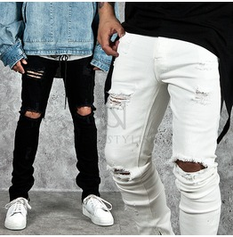 Distressed & Damaged Slim Denim Jeans 234
