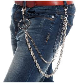 Men's Punk Cross Double Deck Metal Chain Waist Chain