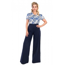 Retro 40s/50s Inspired Navy Blue Palazzo Pants/Trousers Rockabilly