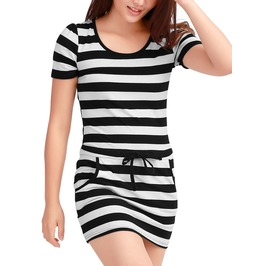 Ladies Slipover Stretchy Two Side Pockets Summer Mini Dress