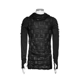 Punk Rave Ripped Hooded Jumper Shirt