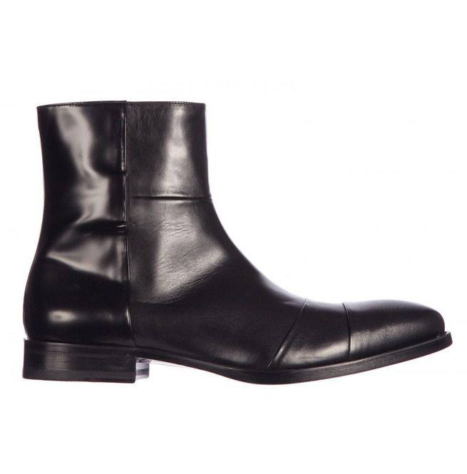 mens black leather boots with zipper