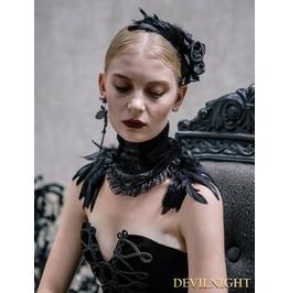 Black Gothic Feather Collar Shawl