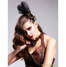 Flower Feather Steampunk Headdress For Women