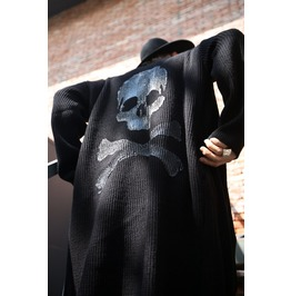 Custom Skull Hand Painting Long Knit Cardigan
