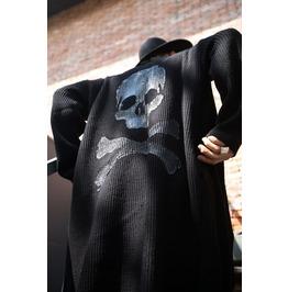 Custom Skull Hand Painting Long Knit Cardigan