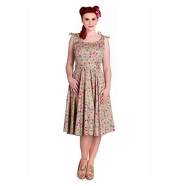 Brand New Pretty Vintage 50s Style Beige Floral Swing Dress