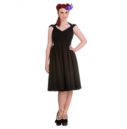 Brand New Retro Vintage 1950s Inspired Black Cotton Swing Dress