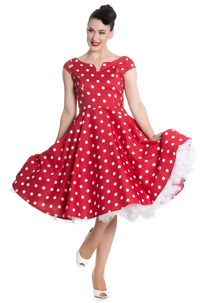 Gorgeous Retro 1950s Style Navy Or Red Polka Dot Swing Dress