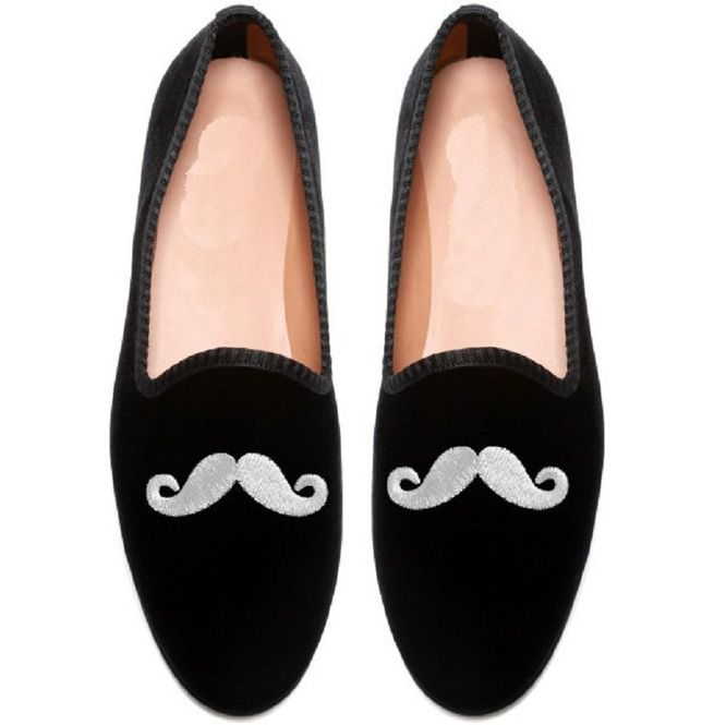 c7960911fe4f5 Handmade Mens Mustache Velvet Loafer Casual Shoes, Men Embroidered Shoes