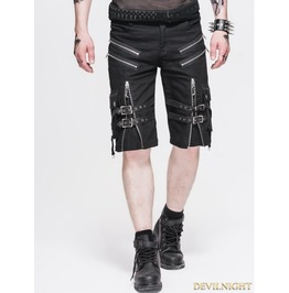 Black Belt Zipper Gothic Punk Short Pants For Men