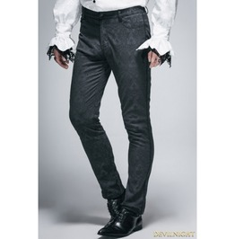 Vintage Black Gothic Jacquard Pants For Men