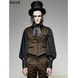 Brown Stripe Vintage Pu Steampunk Waistcoat For Men