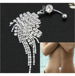 Sterling Silver Crystal Tassel Chain Body Piercing Navel Belly Button Ring