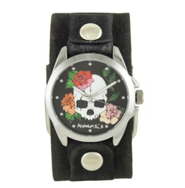 Black Skull And Roses Watch With Faded Black Junior Leather Cuff ...