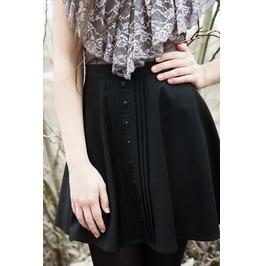 Black Gothic Lolita Skull Button Skater Skirt