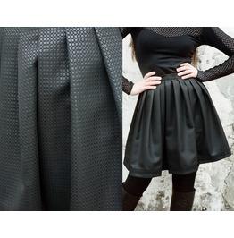 Wet Look Black Brocade Gothic Lolita Pleated Skirt