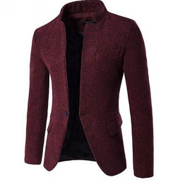 Men's Tailored Collar Single Button Snowflake Slim Fitted Suit Jacket