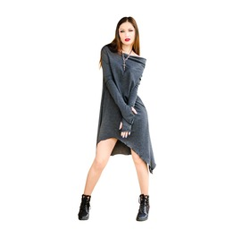 Grey Women's Tunic Asymmetrical Loose Street Style Fashion Plus Size