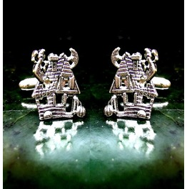 Haunted House Cufflinks Sterling Silver