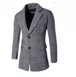 Men's Turn Down Collar Plaid Single Breasted Slim Fitted Coat
