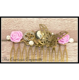 Purple And Bronze Butterfly Garden Hair Comb