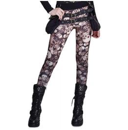 Punk Rave Gothic Skull Design Coffee Leggings